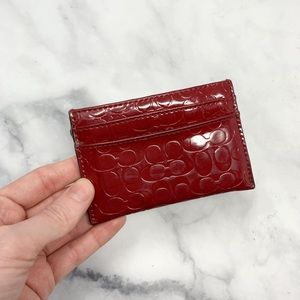 Coach Monogram Logo Red Leather Card Holder Wallet